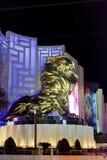 Lion Statue dans la scène du centre de nuit de Las Vegas image libre de droits