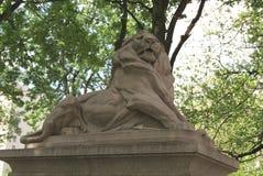 Lion Statue drottning Victoria Fountain på den Dorcester fyrkanten i Montreal, Quebec, Kanada Fotografering för Bildbyråer