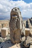Lion statue at East Terrace on top of Nemrut Mountain.Turkey. Lion statue at East Terrace on top of Nemrut Mountain. Stone heads at the top of 2150 meters high royalty free stock image