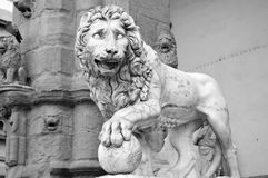 Lion statue Florence Tuscany italy stock photo