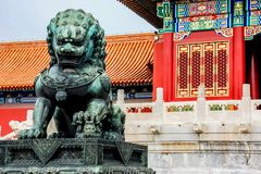 Lion statue at Forbidden City, Beijing, China. The Forbidden City called `Gu Gong`, `故宫`in Chinese, literally meaning `Old Palace` is the most royalty free stock image