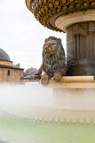 Lion statue fountain in downtown of Skopje Stock Images