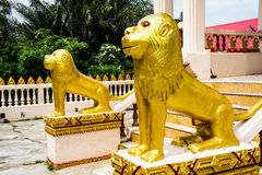 Lion statue in front of the church. Statue in front of the church in thailand Royalty Free Stock Images