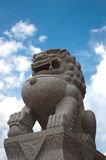 Lion statue in front of Church of Wat Siri Sao Thong. Samut Prakan Province in Thailand Royalty Free Stock Photography