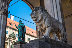 Lion Statue in front of Feldherrnhalle at Odeonsplatz, Munich Royalty Free Stock Photography