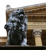 Lion statue in front of Teatro Massimo, Palermo royalty free stock photo