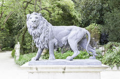 Lion statue in a garden Royalty Free Stock Images