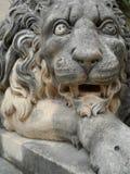 Lion Statue Grand Master Palace Valletta Malta. Majestic carved stone lion statue guarding the entrance to the Grand Master's Palace garden in Valletta, Malta Stock Photo