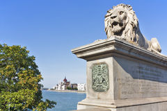Lion Statue Guarding parliament Royalty Free Stock Images