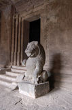 Lion statue, Hindu temple, Elephanta caves Royalty Free Stock Images
