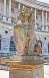 Lion statue of Hofburg Palace. Vienna, Austria. Statue of a lion with a shield at the entrance of Hofburg Palace. Heldenplatz, Vienna, Austria Royalty Free Stock Photography