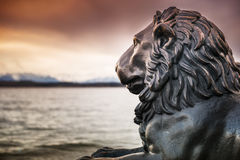 Lion statue at lake Starnberg Royalty Free Stock Photography