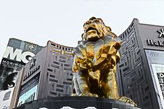 Lion statue at Las Vegas MGM Grand Casino Hotel on the Las Vegas Strip Royalty Free Stock Images