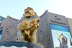 Lion statue at Las Vegas MGM Grand Casino Hotel on the Las Vegas Strip Royalty Free Stock Photos