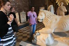 Lion Statue in Louvre Museum - Paris Stock Photo