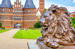 Lion statue. Lubeck, Germany Stock Image
