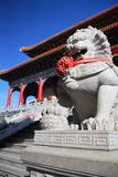 Lion statue in Mahayana Temple Buddhist Stock Photo
