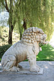 Lion statue on the Ming Tomb Alley, China Royalty Free Stock Images
