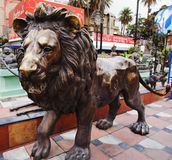 Lion statue, Mount Abu, Sirohi District, Rajasthan. Close-up of a lion statue, Mount Abu, Sirohi District, Rajasthan, India Stock Photography