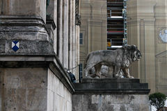 Lion Statue na frente de Feldherrnhalle no Odeonsplatz, Munich, Alemanha Imagem de Stock Royalty Free