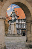 Lion statue and old timbered house in Braunschweig patio Royalty Free Stock Photo