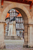 Lion statue and old timbered house in Braunschweig patio Stock Photos