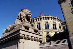 Lion statue outside the norwegian parliament Royalty Free Stock Photography