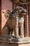 Lion Statue at Pattan Durbar Square in Kathmandu, Nepal Royalty Free Stock Photos