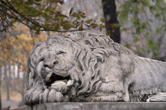 Lion statue on pedestal Royalty Free Stock Image