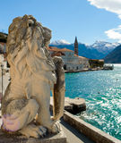 Lion statue in Perast Stock Photography