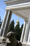 Lion statue in Peterhof stock photography
