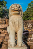 Lion statue portrait Angkor Thom Royalty Free Stock Photos