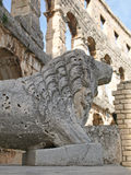 Lion Statue Pula Amphitheatre Royalty Free Stock Photography