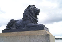 Lion statue. Rochester Bridge details in England. Stock Image