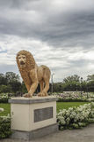 Lion statue at Ruben Dario park Royalty Free Stock Images