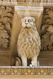 Lion statue at the Santa Croce baroque church in Lecce Royalty Free Stock Image