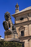 Lion statue with shield at Ubeda city Royalty Free Stock Photos