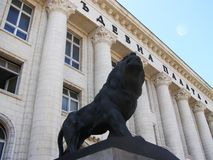 Lion statue in Sophia, Bulgaria Stock Image