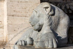 Lion statue spitting water in The Fountain of Moses in Rome Stock Image