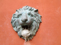 Lion statue  spitting water - vintage style Stock Photo