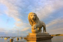 Lion Statue. In St. Augustine, Florida at twilight Stock Images