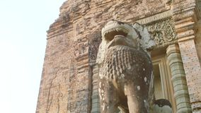 Lion Statue in Angkor Wat. Lion statue on Terrace of the elephants, Angkor Thom, Siemreap. Vacation, Cambodia travel and adventure concept stock footage