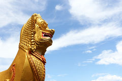 Lion statue. Thai style Lion statue in temple Stock Photo