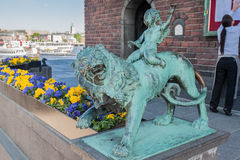 Lion Statue Town Hall Stockholm Sweden Royalty Free Stock Photography