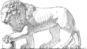 Lion statue. Vector drawing of an antique  sculpture of a lion Stock Images