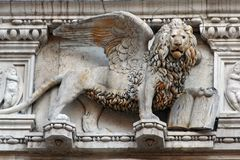 Lion statue of Venice. Italy royalty free stock photo