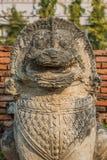 Lion statue Wat Thammikarat temple Ayutthaya bangkok thailand Stock Photos