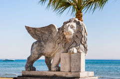Lion statue with wings Stock Photos