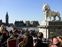 Free Lion Statue With Big Ben On The Background Stock Images - 20915024