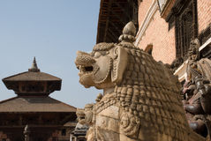 Lion statues. In Bhaktapur,Nepal royalty free stock images